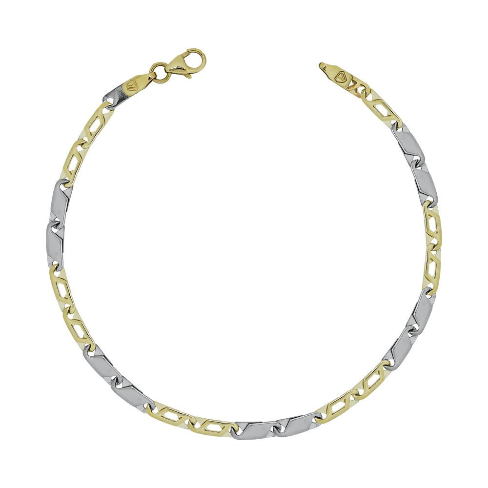 Ανδρικό Βραχιόλι Από Δίχρωμο Χρυσό K9 AVR158