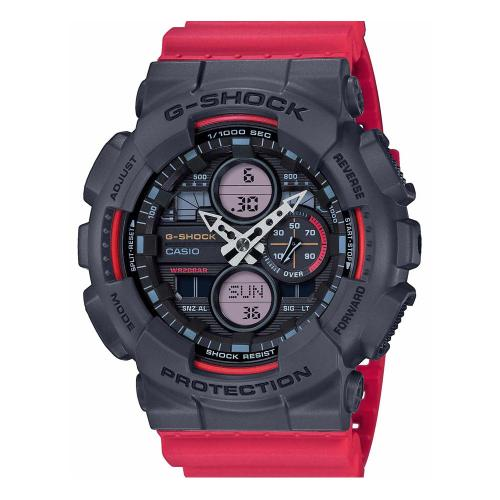 CASIO G-SHOCK Anadigi Red Rubber Strap GA-140-4AER