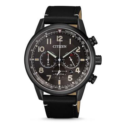 CITIZEN Eco-Drive Black Leather Chronograph CA4425-28E