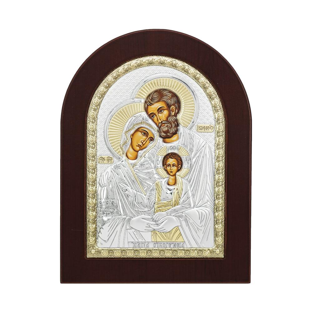 Εικόνα με την Αγία Οικογένεια σε Kαφέ Ξύλο Από Ασήμι RMA/E1105BX