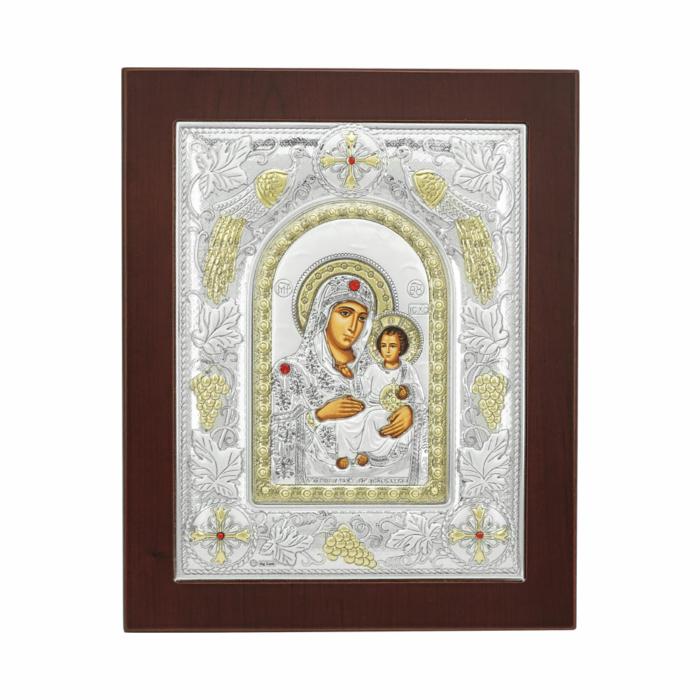 Εικόνα με την Παναγία σε Kαφέ Ξύλο Από Ασήμι MA/E3502BX