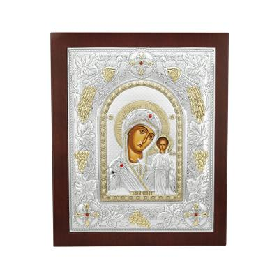Εικόνα με την Παναγία με Επίχρυσες Λεπτομέρειες σε Καφέ Ξύλο Από Ασήμι MA/E3506AX