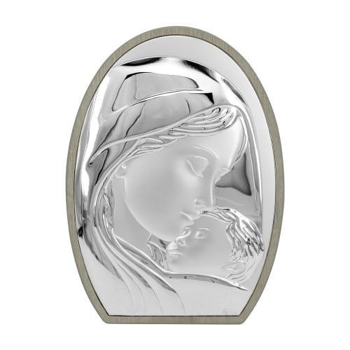 Ασημένια Εικόνα με την Παναγία σε Μπεζ Ξύλο MA/E902/3ST