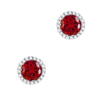 Σκουλαρίκια Με Κόκκινες Πέτρες Από Ασήμι SK999