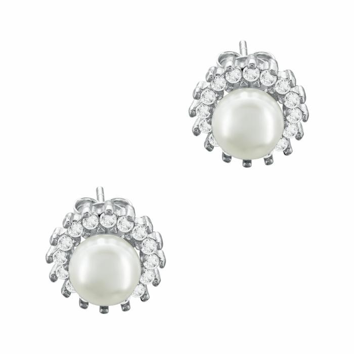 Σκουλαρίκια Με Mαργαριτάρια Aπό Ασήμι SK1020