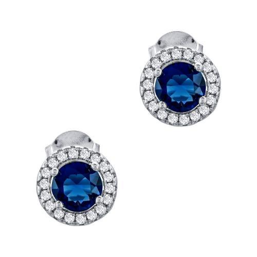 Σκουλαρίκια Με Μπλε Πέτρα Aπό Ασήμι SK1019