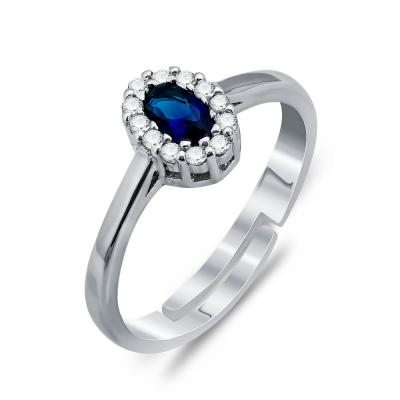 Δαχτυλίδι Ροζέτα Με Μπλε Πέτρα Από Ασήμι DX791