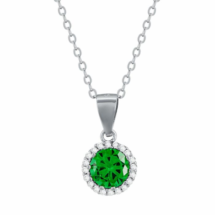 Μενταγιόν Με Πράσινη Πέτρα Από Ασήμι M500
