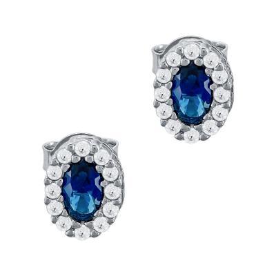 Σκουλαρίκια Με Μπλε Πέτρες Από Ασήμι SK1002