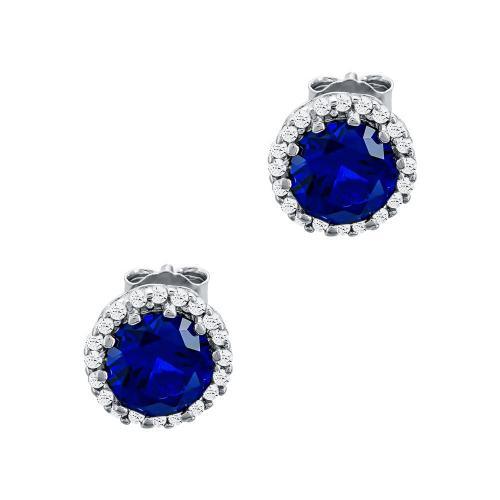 Σκουλαρίκια Με Μπλε Πέτρες Από Ασήμι SK1000