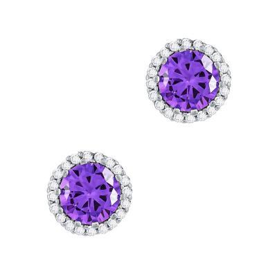 Σκουλαρίκια Με Μωβ Πέτρες Από Ασήμι SK995