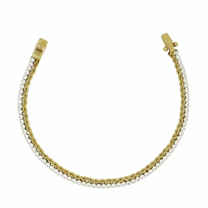 Βραχιόλι Ριβιέρα Από Δίχρωμο Χρυσό Κ14 VR60067