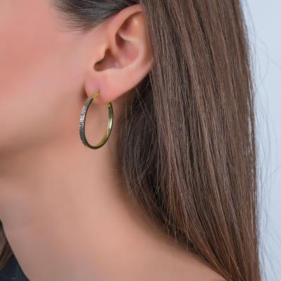 Σκουλαρίκια Κρίκοι Από Δίχρωμο Χρυσό K14 SK04137