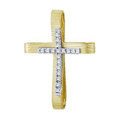 Σταυρός Βάπτισης Γυναικείος Σε Δίχρωμο Χρυσό 14 Καρατίων Με Πέτρες ST2626