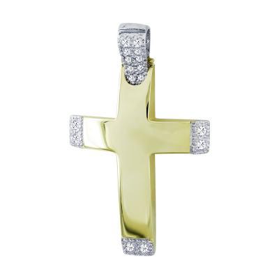 Σταυρός Βάπτισης Γυναικείος Σε Δίχρωμο Χρυσό 14 Καρατίων Με Πέτρες ST2633