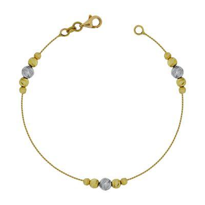 Βραχιόλι Με Διαμανταρισμένες Μπαλίτσες Από Δίχρωμο Χρυσό Κ14 VR61825