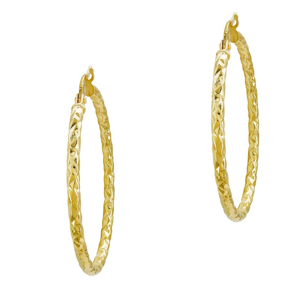 Σκουλαρίκια Κρίκοι Από Κίτρινο Χρυσό K14 SK01213
