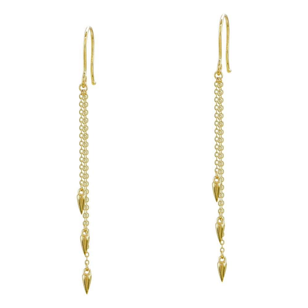 Σκουλαρίκια Kρεμαστά Aπό Κίτρινο Χρυσό Κ14 SK1011