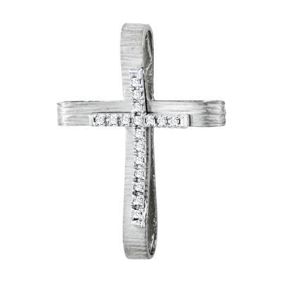 Σταυρός Βάπτισης Γυναικείος Σε Λευκόχρυσο 14 Καρατίων Με Πέτρες ST2627
