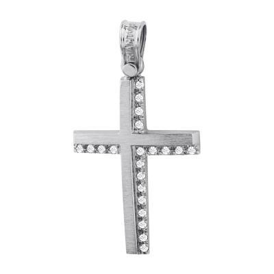 Σταυρός Βάπτισης Τριάντος Γυναικείος Σε Λευκόχρυσο 14 Καρατίων Με Πέτρες ST2606