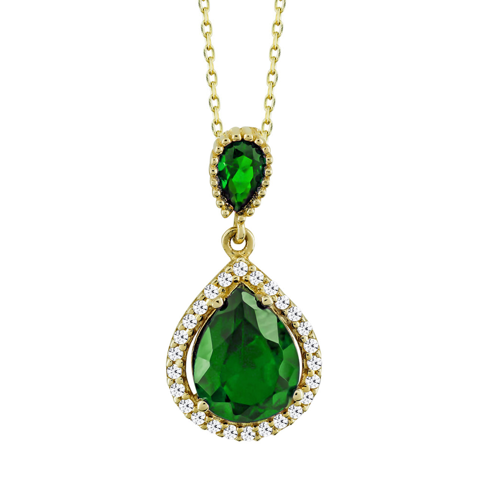 Μενταγιόν Ροζέτα Με Πράσινη Πέτρα Από Κίτρινο Χρυσό Κ14 M03242