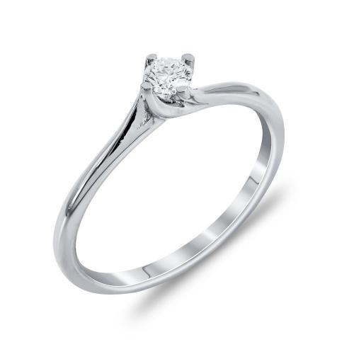 Mονόπετρο Δαχτυλίδι Με Διαμάντια Brilliant Aπό Λευκόχρυσο Κ18 R22500