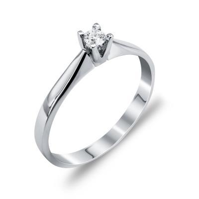 Mονόπετρο Δαχτυλίδι Με Διαμάντια Brilliant Aπό Λευκόχρυσο Κ18 R25107