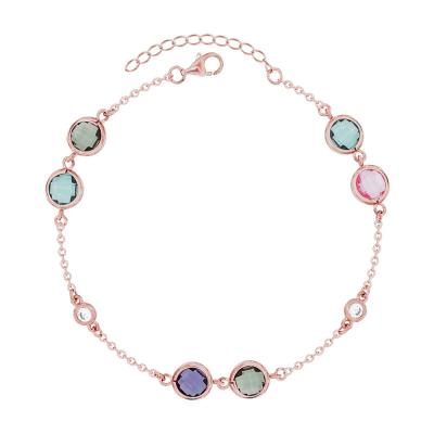 Βραχιόλι Με Πολύχρωμες Πέτρες Από Ροζ Επιχρυσωμένο Ασήμι VR664