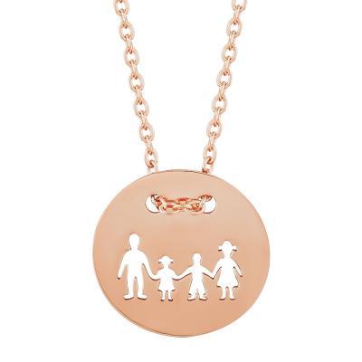 Μενταγιόν Κύκλος Οικογένεια Από Ροζ Επιχρυσωμένο Ασήμι M519