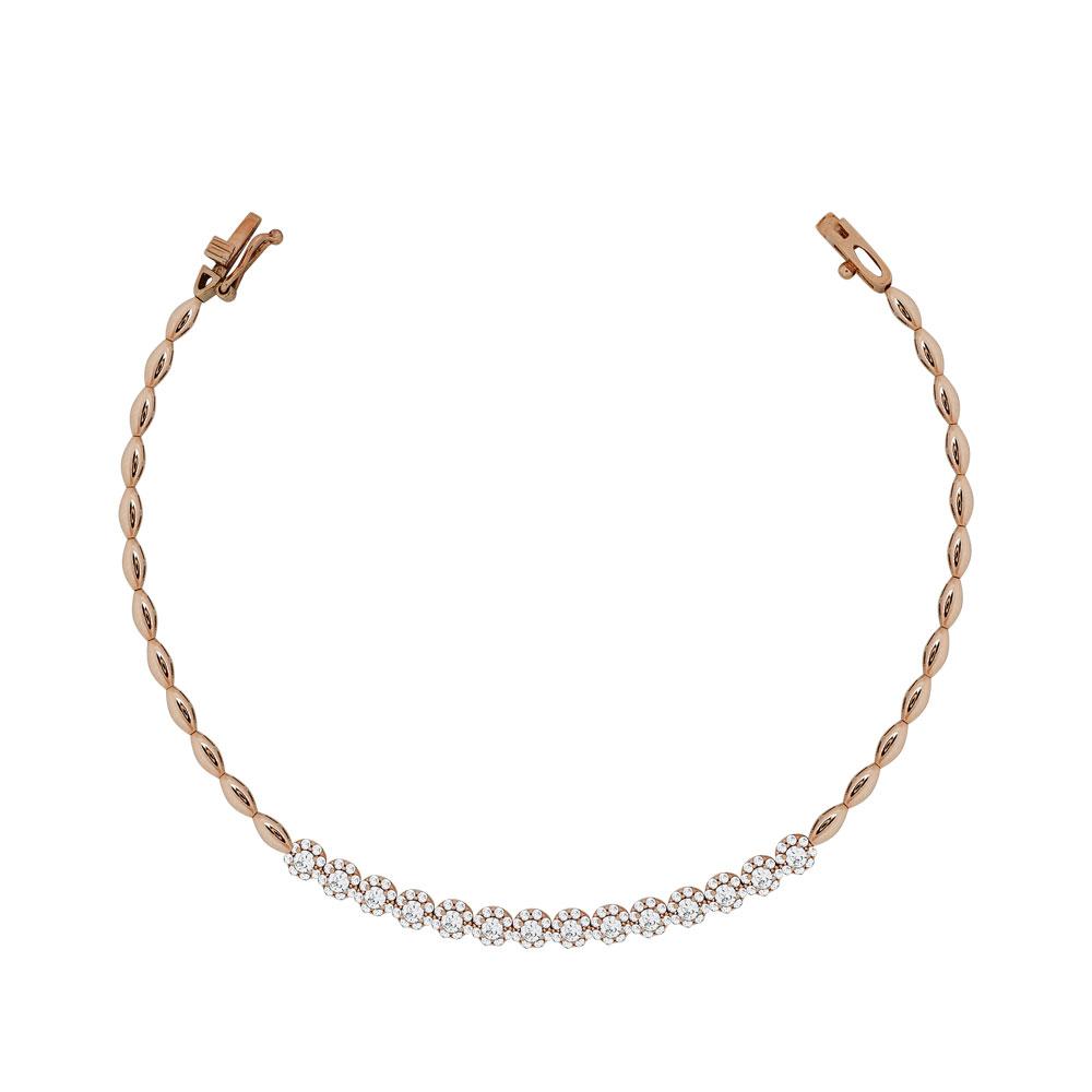 Βραχιόλι Με Πέτρες Από Ροζ Χρυσό Κ14 VR94822