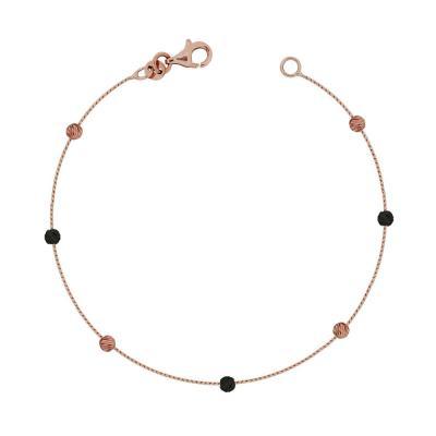 Βραχιόλι Με Διαμανταρισμένες Μπαλίτσες Από Ροζ Χρυσό Κ14 VR95830