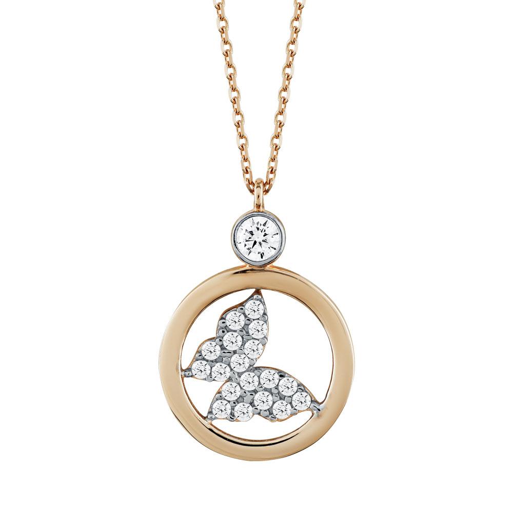 Μενταγιόν Κύκλος Με Πεταλούδα Από Ροζ Χρυσό Κ14 M03861