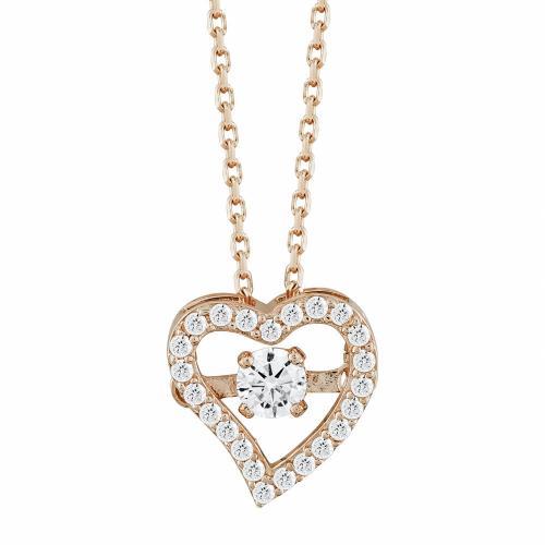 Μενταγιόν Καρδούλα Με Πέτρες Από Ροζ Χρυσό Κ14 M04870