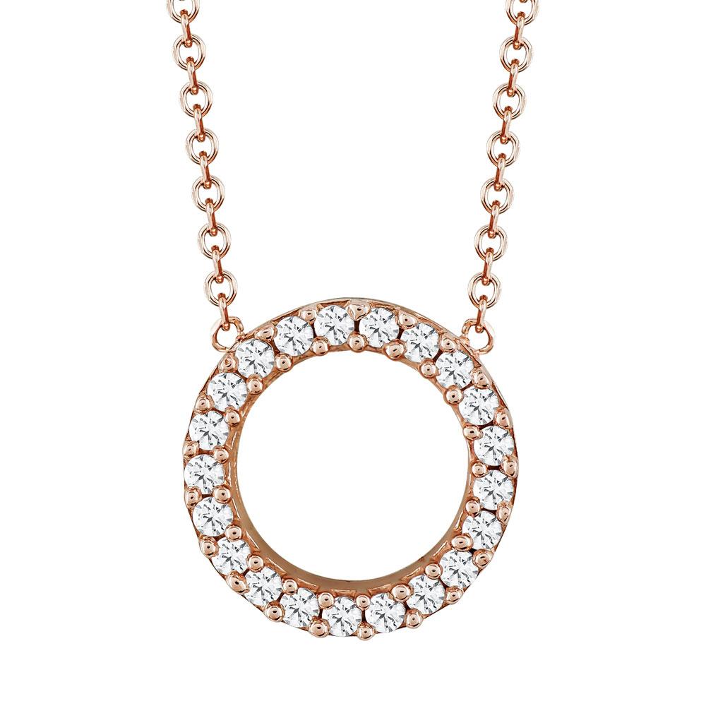 Μενταγιόν Kύκλος Με Πέτρες Από Ροζ Χρυσό Κ14 M02054