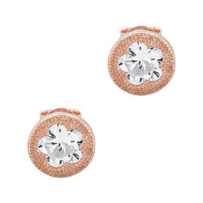 Σκουλαρίκια Με Πέτρες Από Ροζ Επιχρυσωμένο Ασήμι SK1006