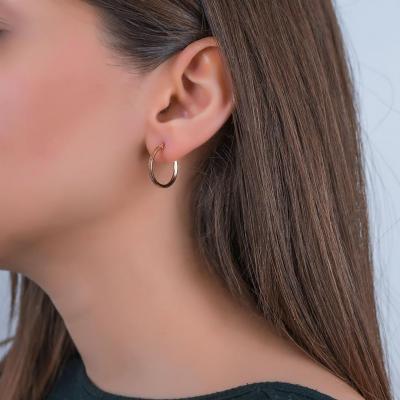 Σκουλαρίκια Κρίκοι Από Ροζ Χρυσό K14 SK02478