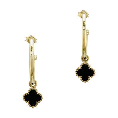 Σκουλαρίκια Κρίκοι Με Σταυρουδάκι Από Επιχρυσωμένο Ασήμι SK1003