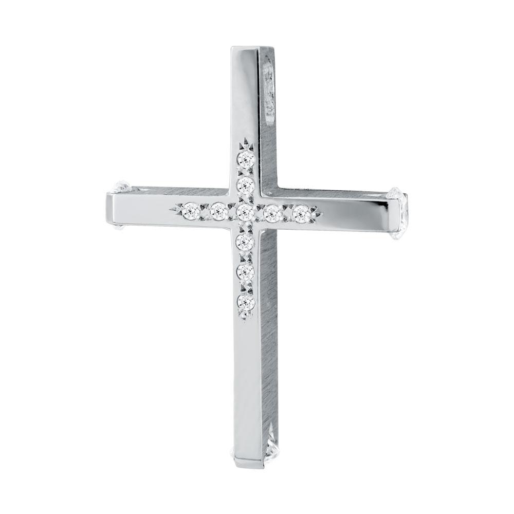 Σταυρός Βάπτισης Τριάντος Γυναικείος Σε Λευκόχρυσο 14 Καρατίων Με Πέτρες ST2602