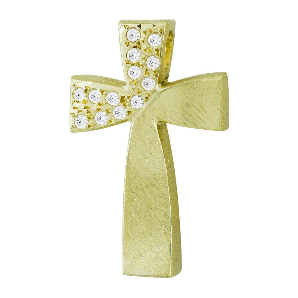 Σταυρός Βάπτισης Τριάντος Γυναικείος Σε Κίτρινο Χρυσό 14 Καρατίων Με Πέτρες ST2603
