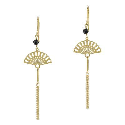 Σκουλαρίκια Bεντάλια Aπό Κίτρινο Χρυσό Κ14 SK1012