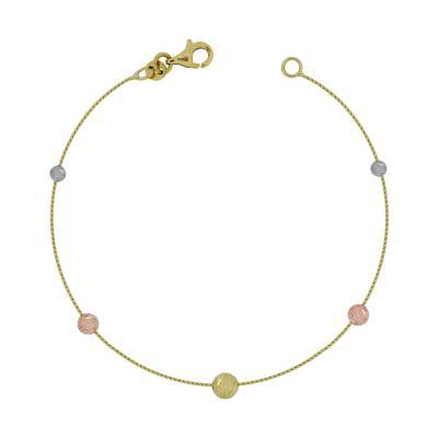 Βραχιόλι Με Διαμανταρισμένες Μπαλίτσες Από Τρίχρωμο Χρυσό Κ14 VR03546