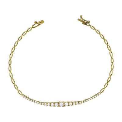 Βραχιόλι Με Πέτρες Από Κίτρινο Χρυσό Κ14 VR87555