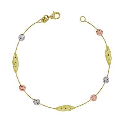 Βραχιόλι Με Διαμανταρισμένες Μπαλίτσες Από Τρίχρωμο Χρυσό Κ14 VR92053