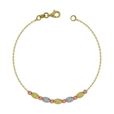 Βραχιόλι Με Διαμανταρισμένες Μπαλίτσες Από Τρίχρωμο Χρυσό Κ14 VR95879