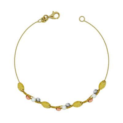 Βραχιόλι Με Διαμανταρισμένες Μπαλίτσες Με Μαργαριτάρια Από Τρίχρωμο Χρυσό Κ14 VR95885