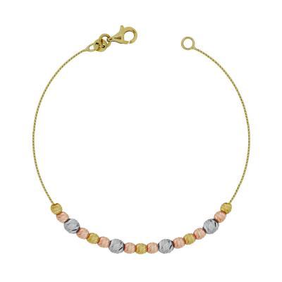 Βραχιόλι Με Διαμανταρισμένες Μπαλίτσες Από Τρίχρωμο Χρυσό Κ14 VR95897