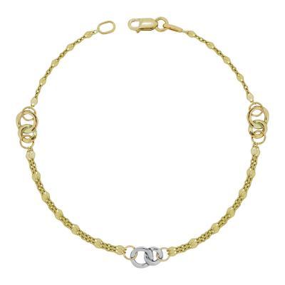 Βραχιόλι Με Κρικάκια Από Δίχρωμο Χρυσό Κ14 VR03300