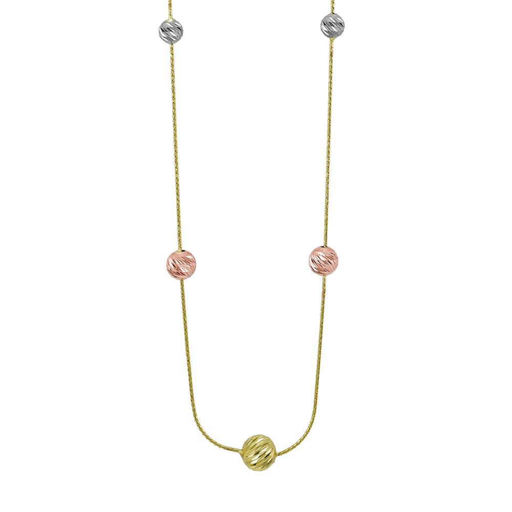 Κολιέ Με Διαμανταρισμένες Μπαλίτσες Από Κίτρινο Χρυσό K14 KL03545