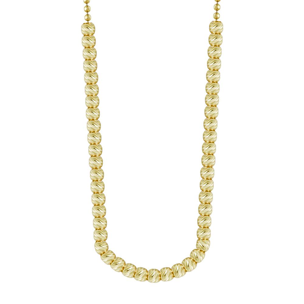Κολιέ Με Διαμανταρισμένες Μπαλίτσες Από Κίτρινο Χρυσό K14 KL77610