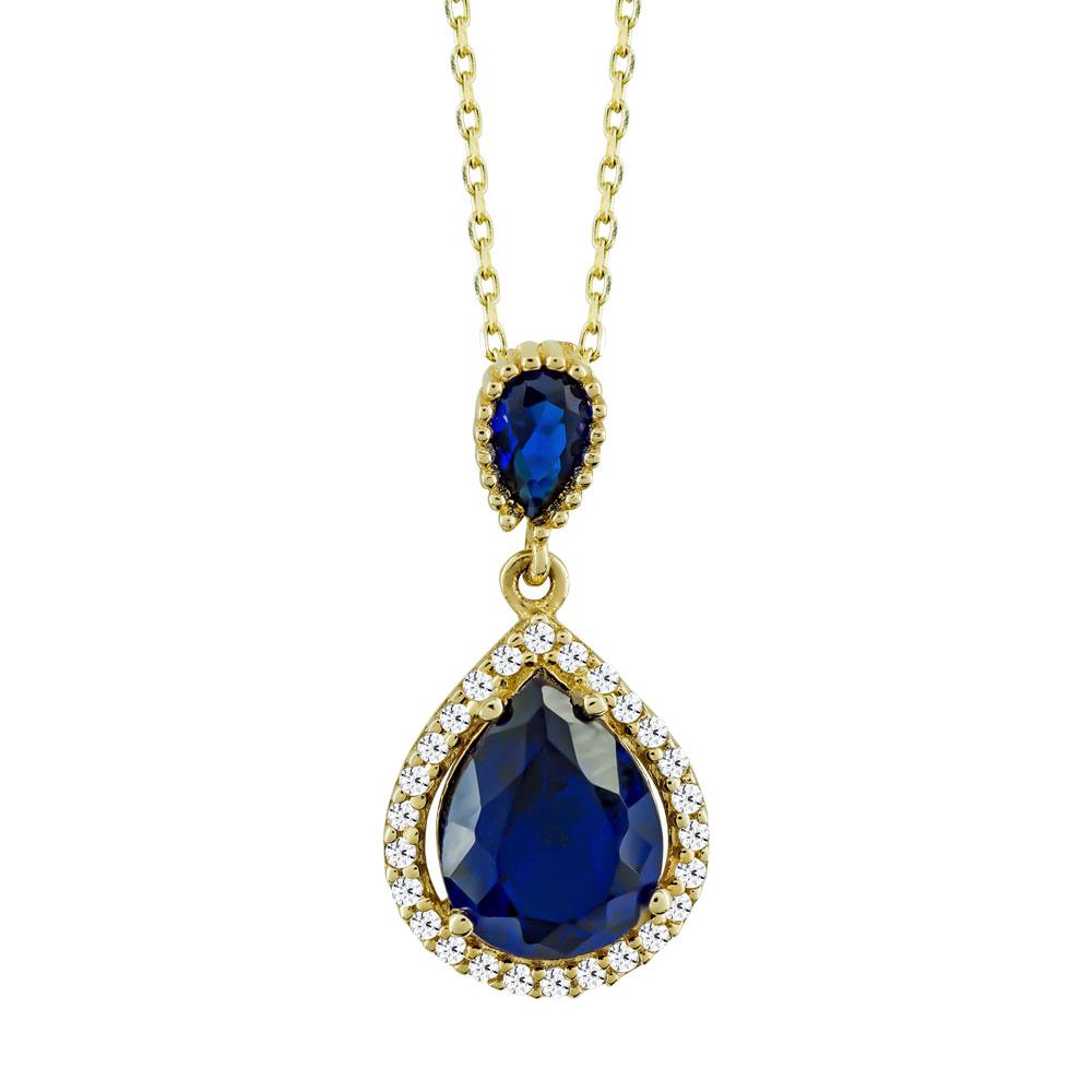 Μενταγιόν Δάκρυ Με Μπλε Πέτρα Από Κίτρινο Χρυσό Κ14 M03236